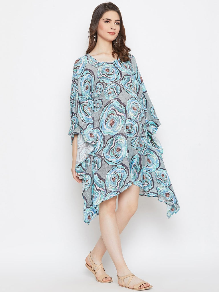 BLUE PRINTED MATERNITY KAFTAN DRESS
