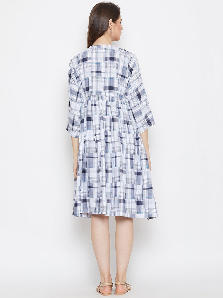 WHITE CHECKERED MATERNITY KAFTAN DRESS