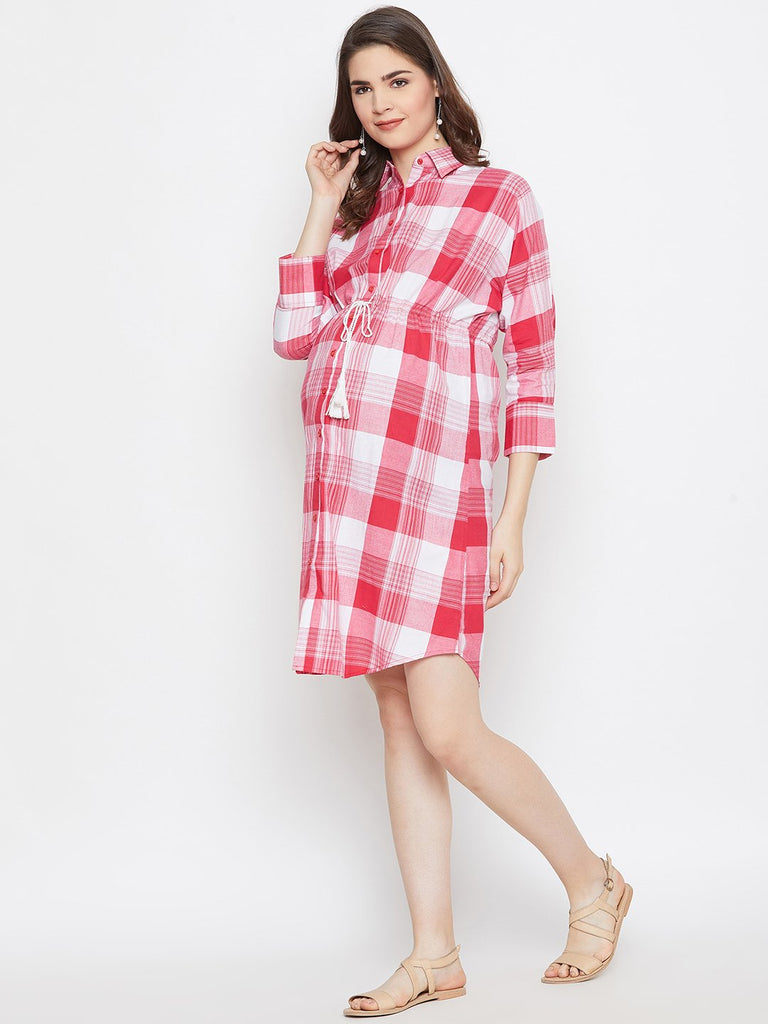 RED CHECKERED MATERNITY KAFTAN DRESS