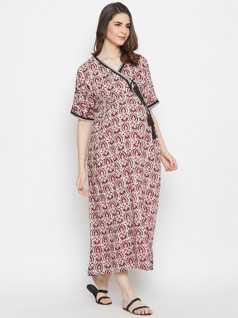 AJRAKH PRINTED MATERNITY KAFTAN DRESS