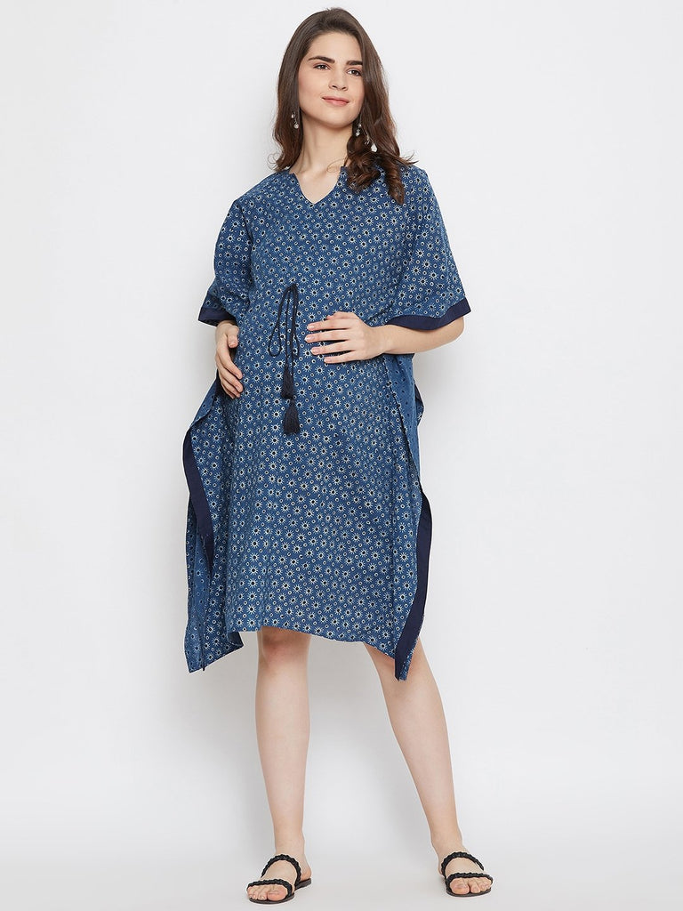 INDIGO AJRAKH  MATERNITY KAFTAN DRESS