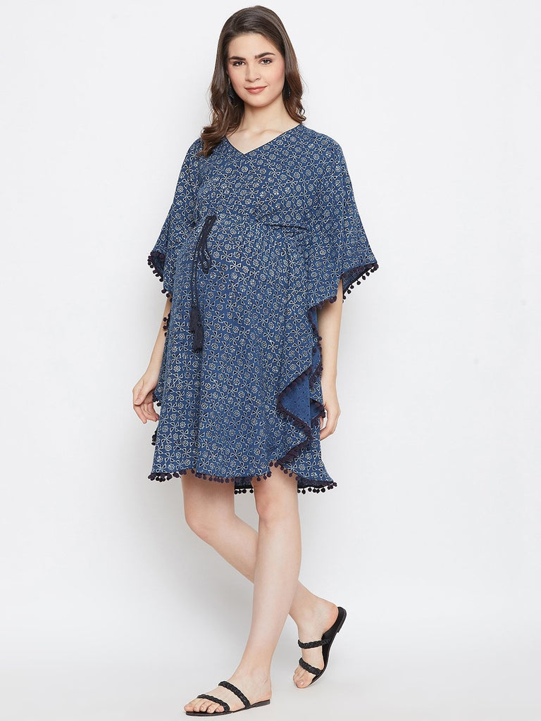 NAVY BLUE PRINTED MATERNITY KAFTAN DRESS