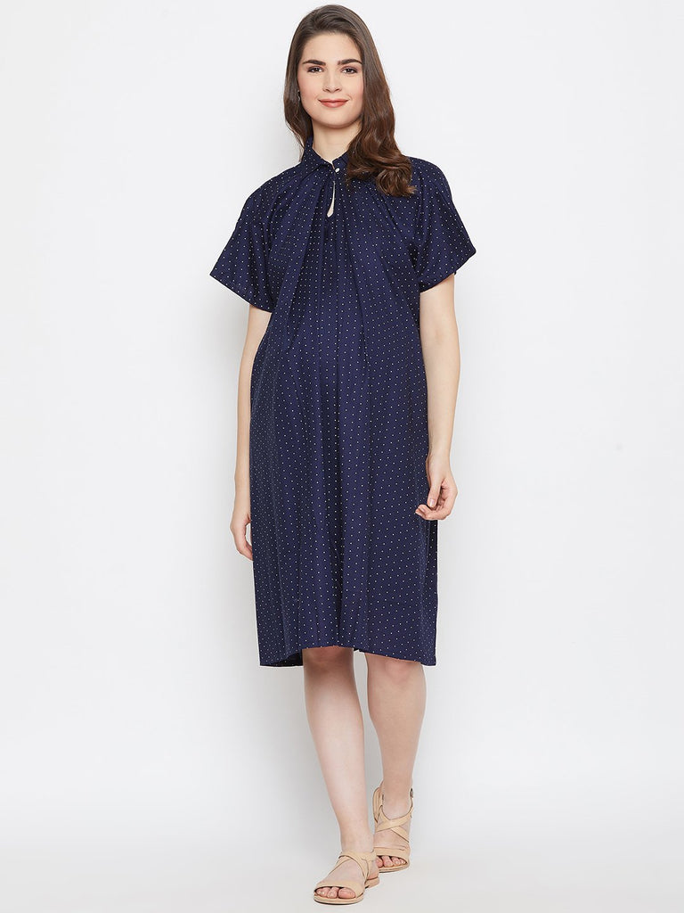 Women Navy Blue Printed Maternity Shirt Dress