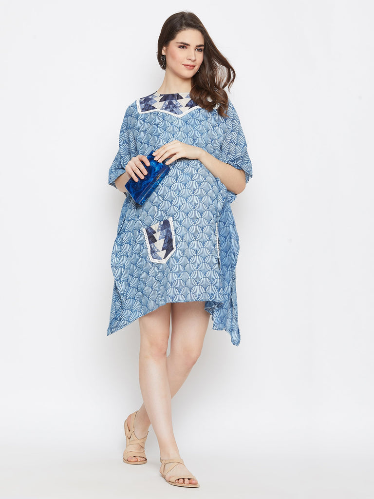 BLUE AJRAKH  MATERNITY KAFTAN DRESS