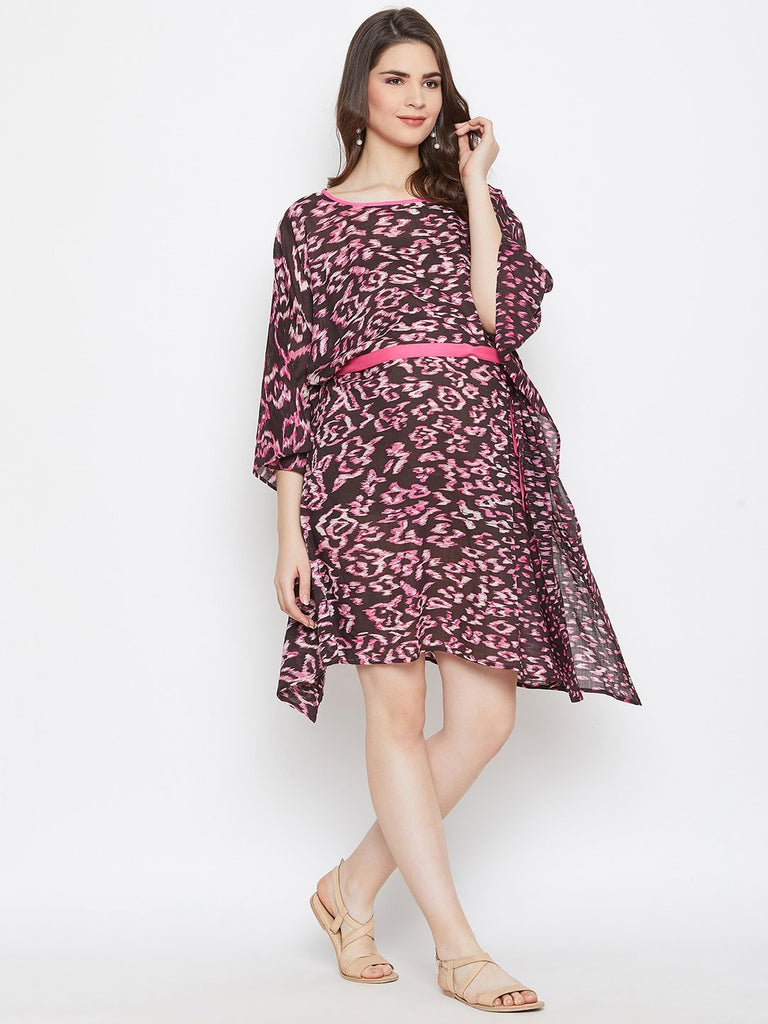 BROWN PRINTED MATERNITY KAFTAN DRESS