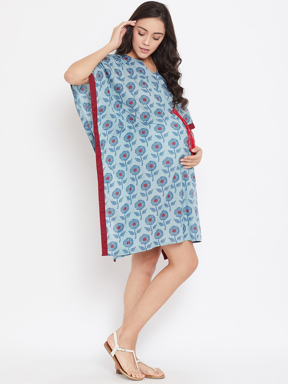 BLUE BLOCK PRINTED MATERNITY KAFTAN