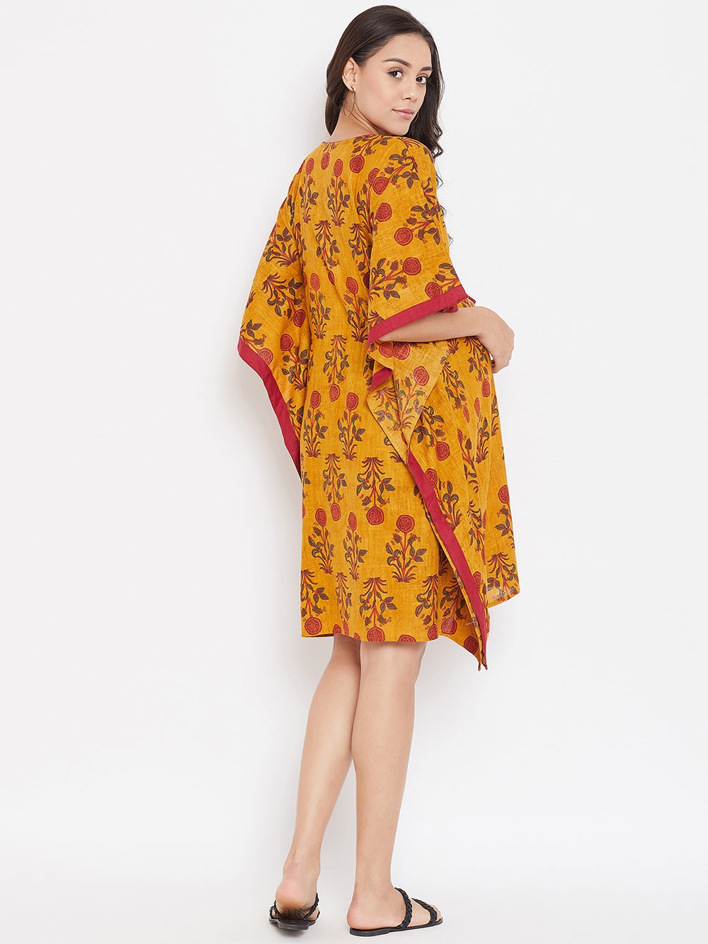 YELLOW FLORAL BLOCK PRINTED MATERNITY KAFTAN DRESS