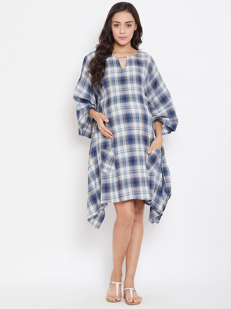 SEA SHADE PLAIDS MATERNITY KAFTAN DRESS