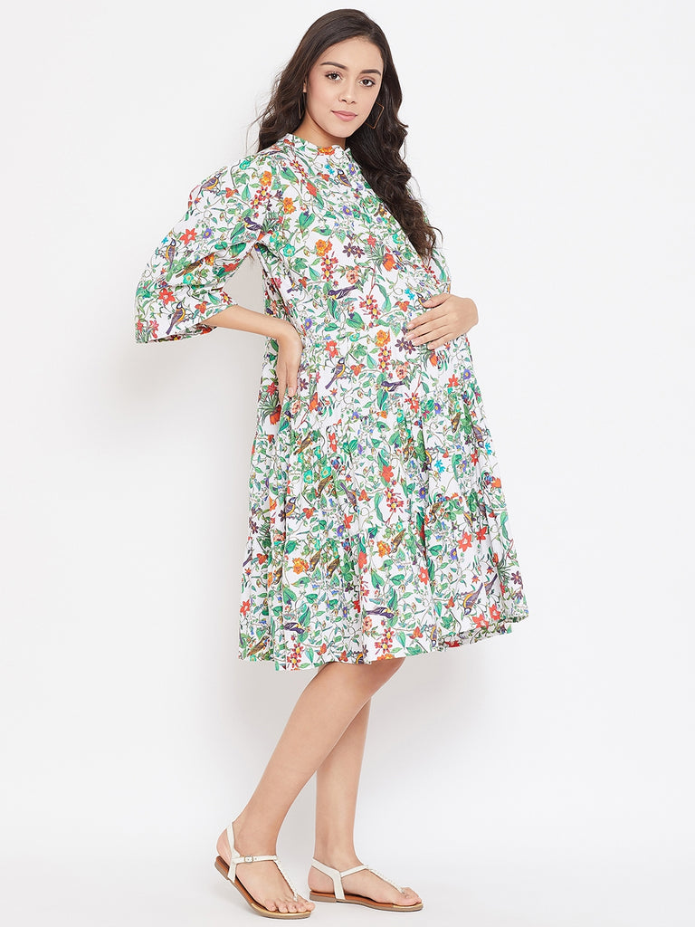CHIRPY FUN PRINTED MATERNITY DRESS NURSING PLACKET OPENING