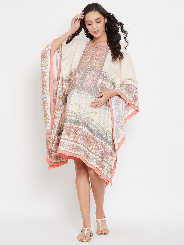 BEIGE PRINTED MATERNITY KAFTAN DRESS