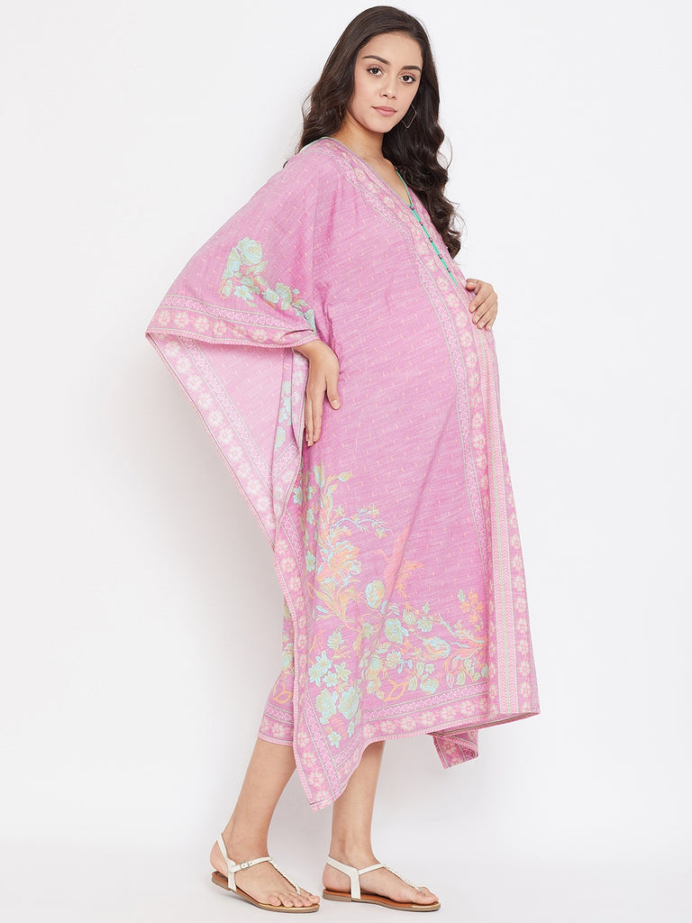 PINK PRINTED MATERNITY KAFTAN DRESS WITH PLACKET OPENING FOR NURSING