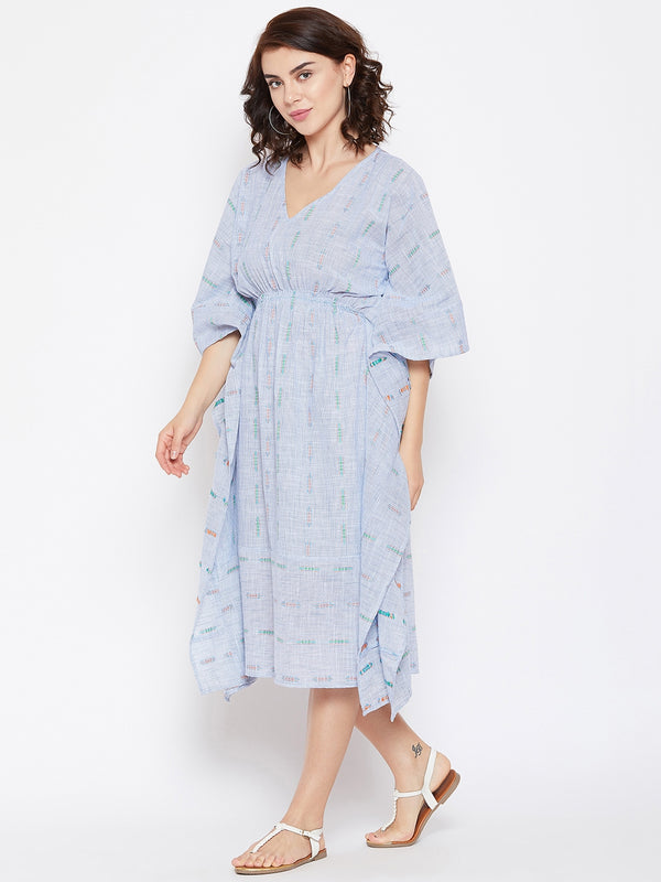 STRIPE DOBBY COTTON MIDI KAFTAN