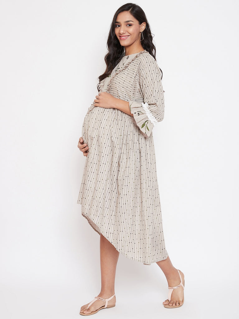 Grey Cotton Maternity and Nursing Dress