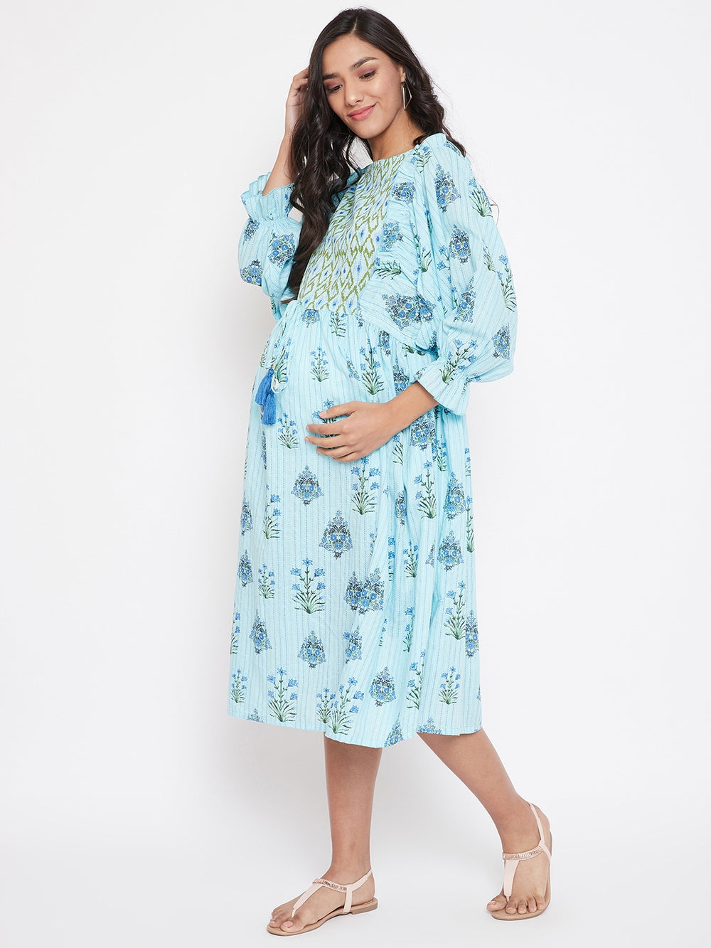 Pastel Blue Floral Printed Maternity Dress