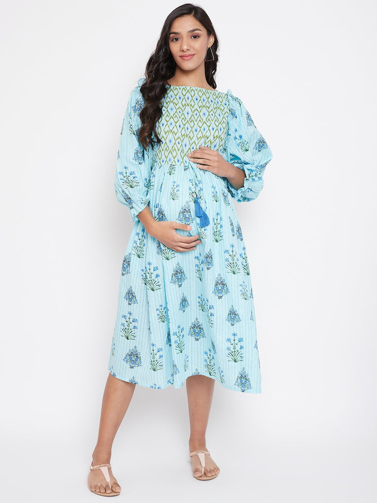 Pastel Blue Floral Printed Maternity Dress,