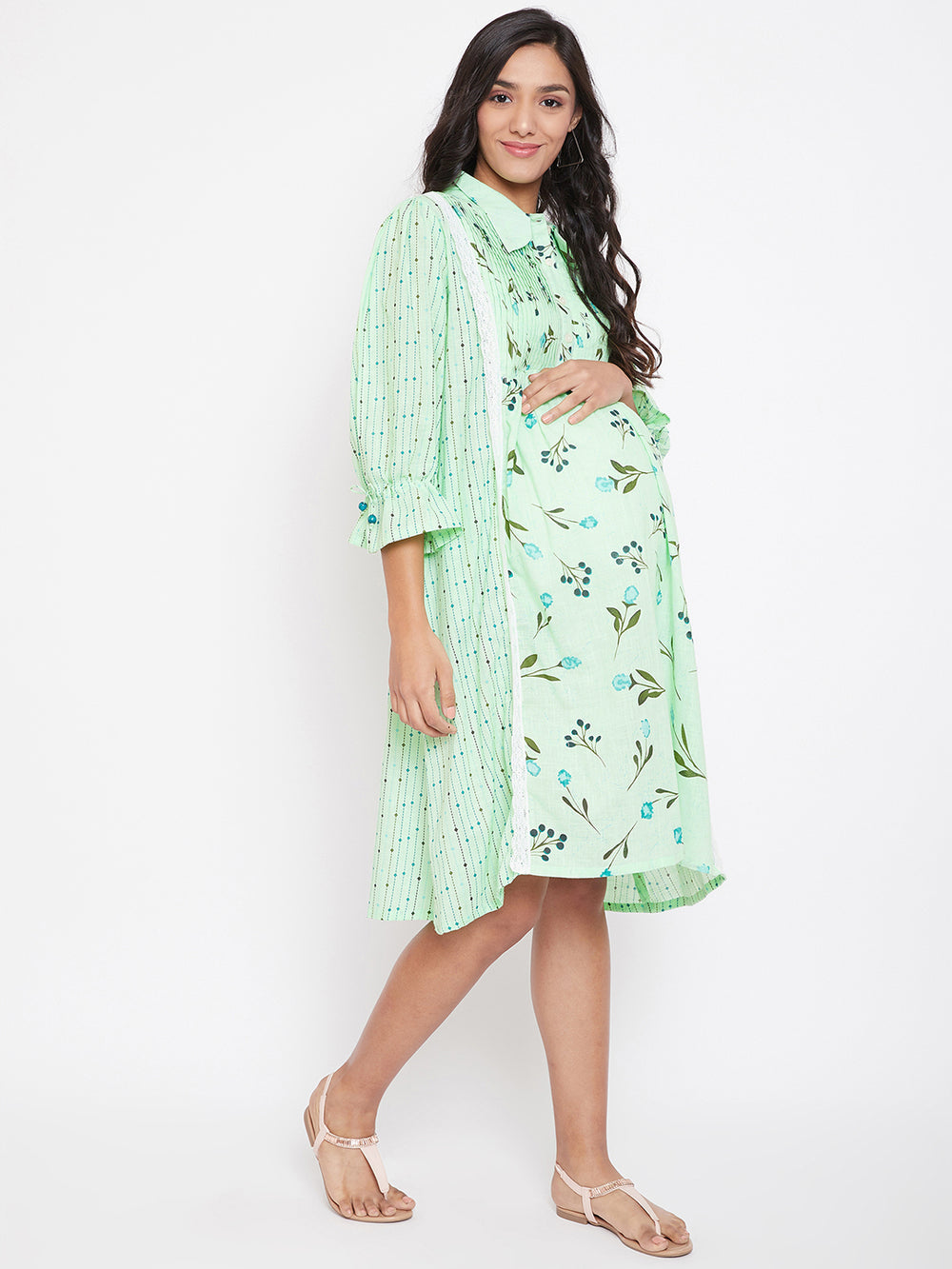 MINT FLORAL MATERNITY DRESS WITH PIN TUCKS AND BUTTON PLACKET
