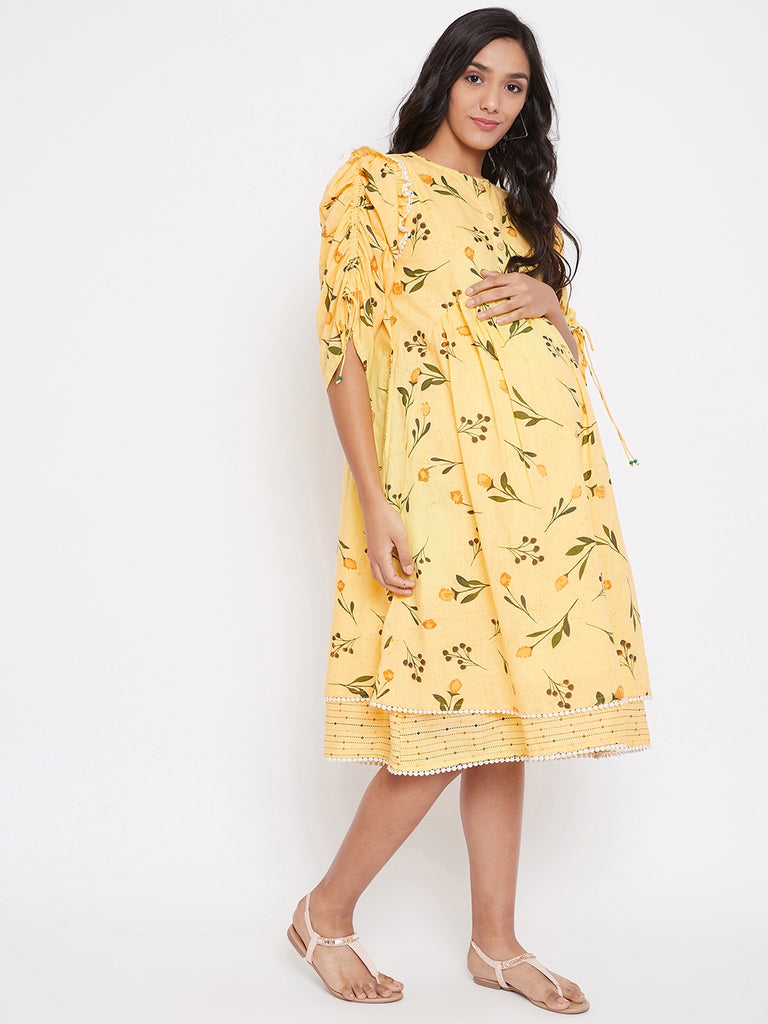 FLORAL PRINTED YELLOW MATERNITY DRESS WITH RUCHED SLEEVE