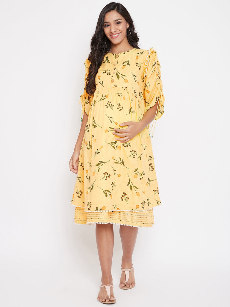 FLORAL PRINTED MATERNITY DRESS WITH RUCHED SLEEVE DEATIL