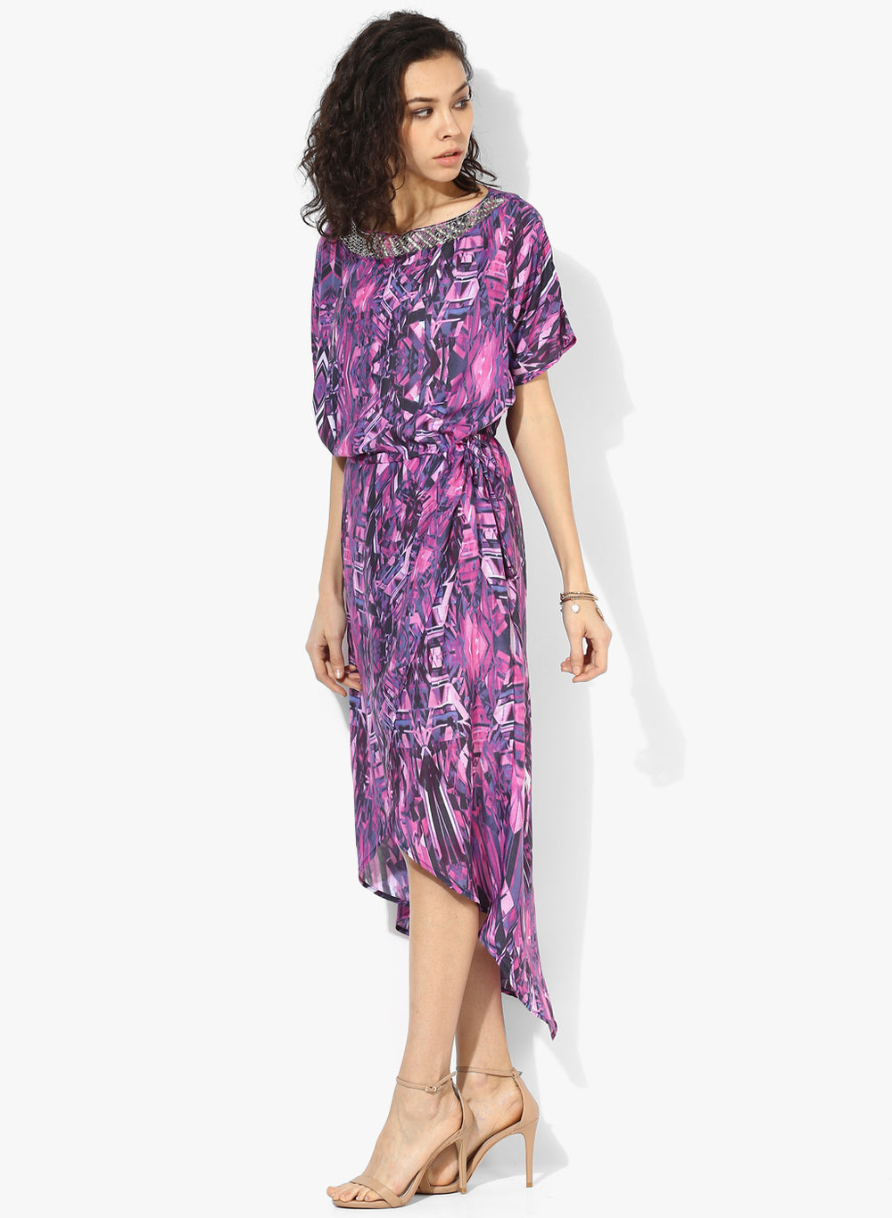 Embellished Crystals Hi-Low Wrap Dress