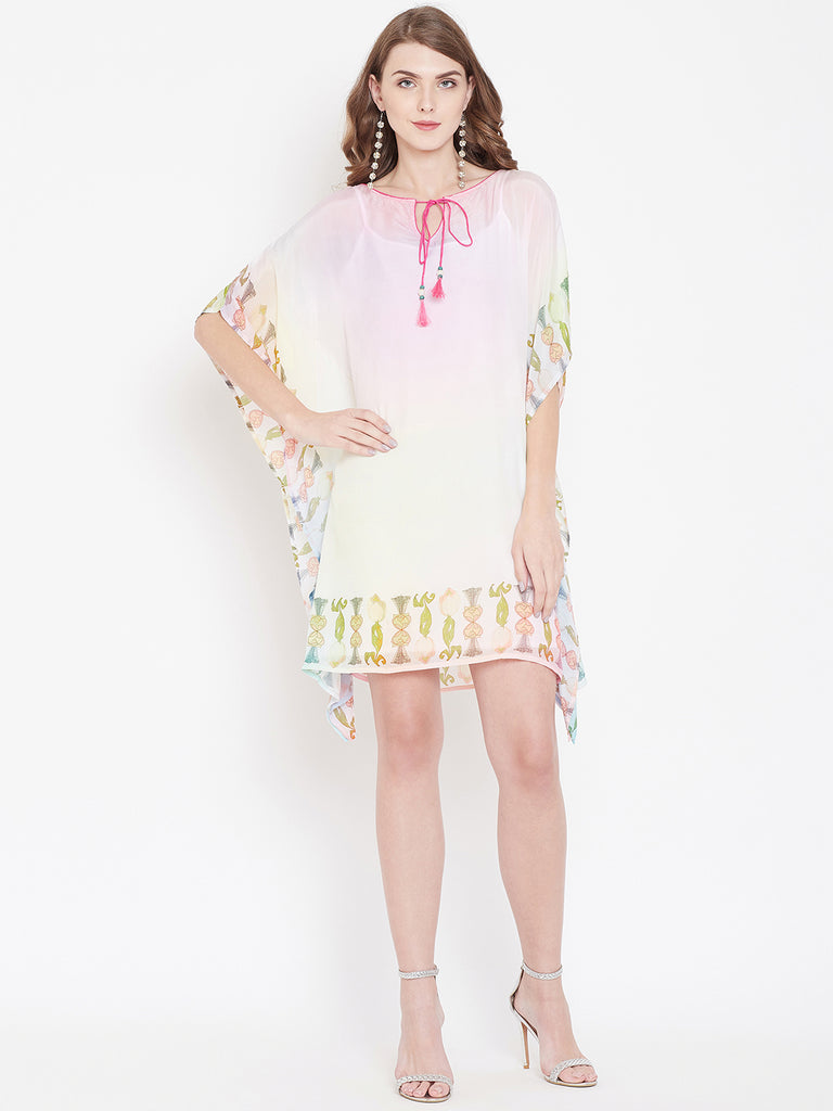 HOLOGRAPHIC HUES EMBROIDERED KAFTAN DRESS