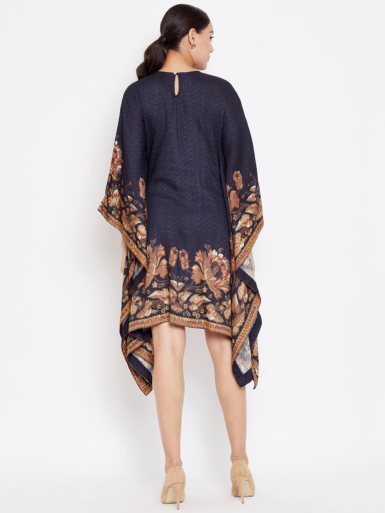 BLACK EMBROIDERED KAFTAN DRESS