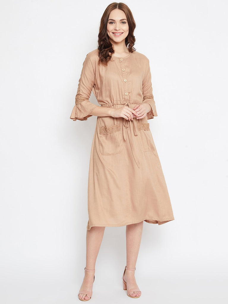 SANDED BEIGE MODAL WORKWEAR DRESS