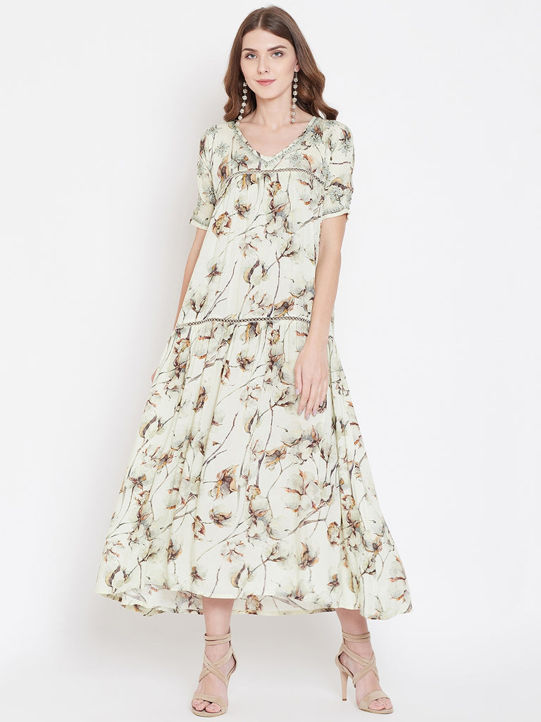 FLORAL CHAMPAGNE LAYERED DRESS