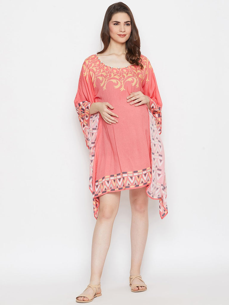 PEACH PRINTED MATERNITY KAFTAN DRESS