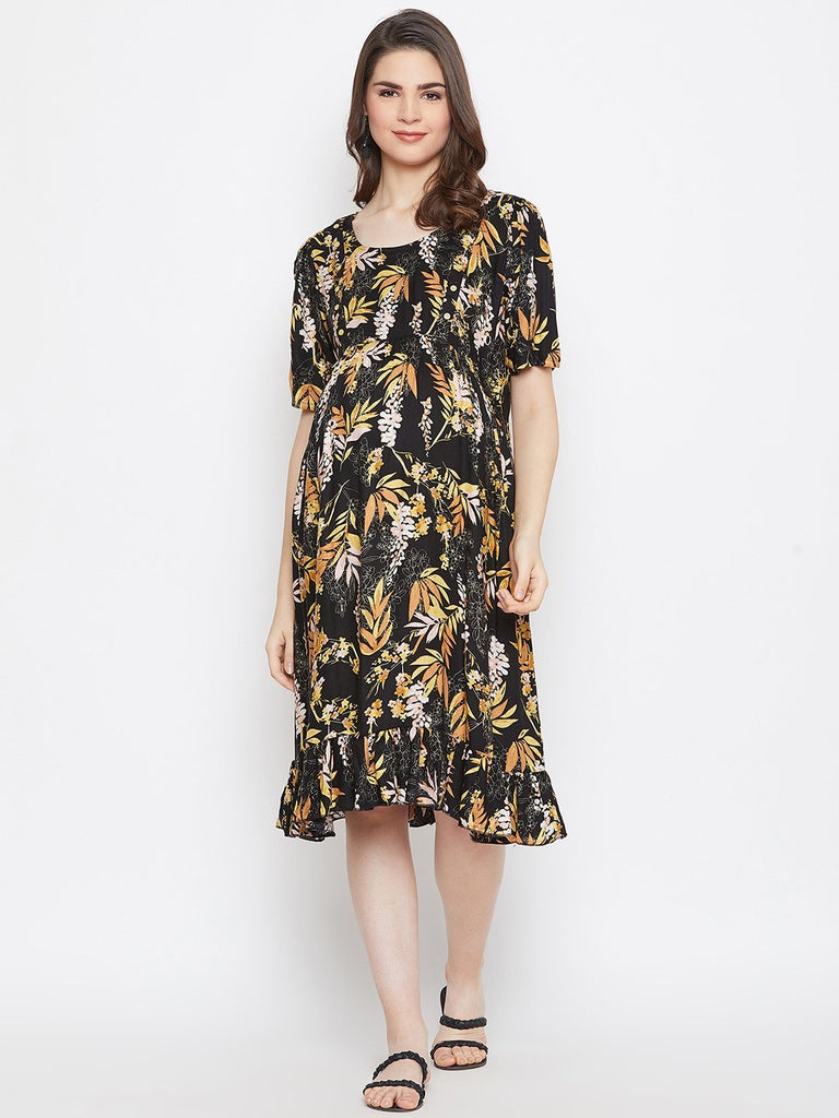BLACK PRINTED MATERNITY KAFTAN DRESS WITH NURSING SLIT