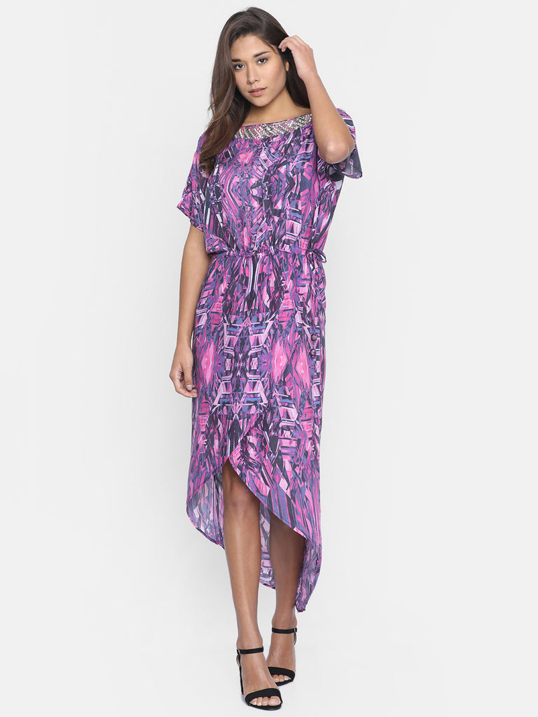 PURPLE EMBROIDERED KAFTAN DRESS