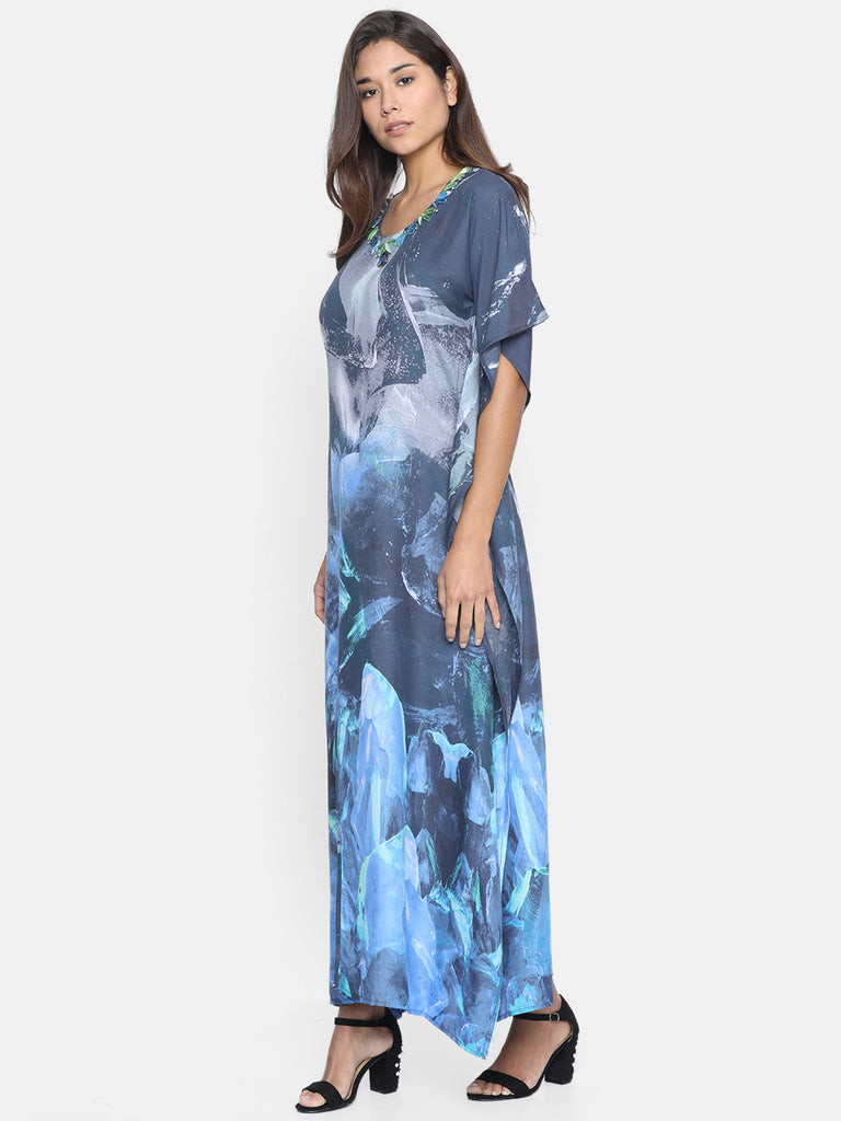 SMUDGED SKY EMBELLISHED KAFTAN DRESS