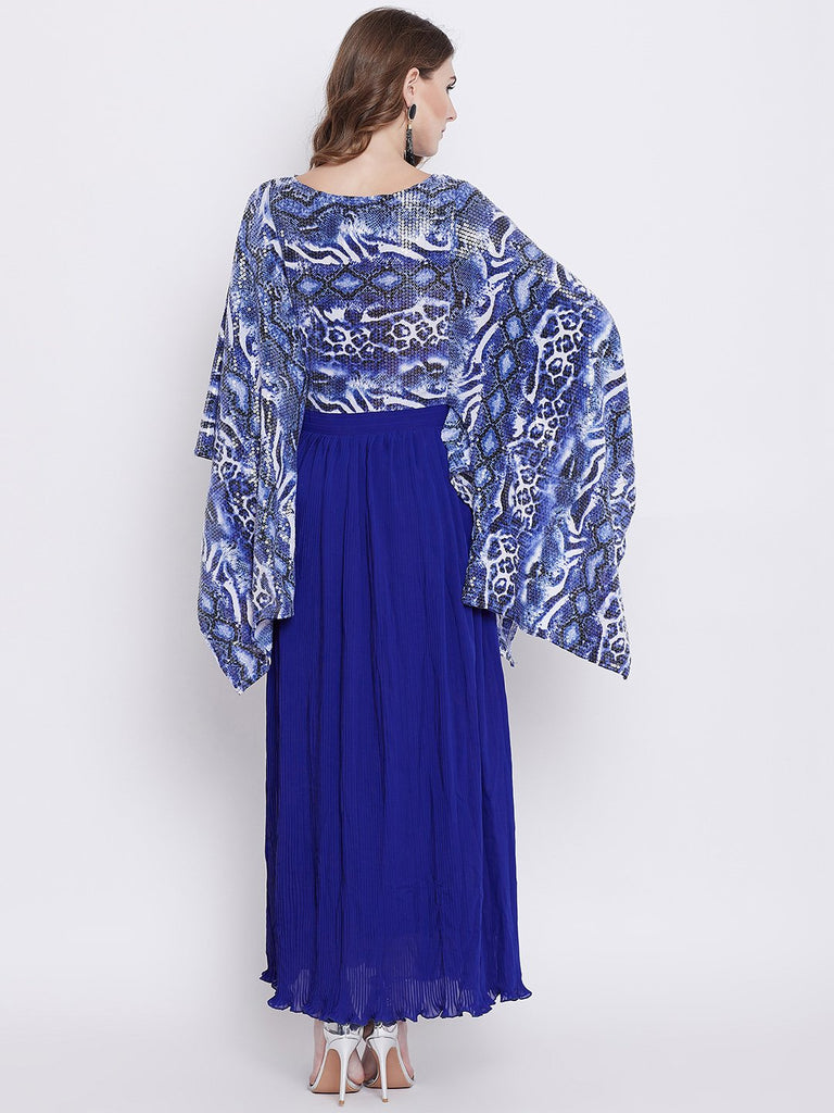 Women Blue Printed Maxi Dress