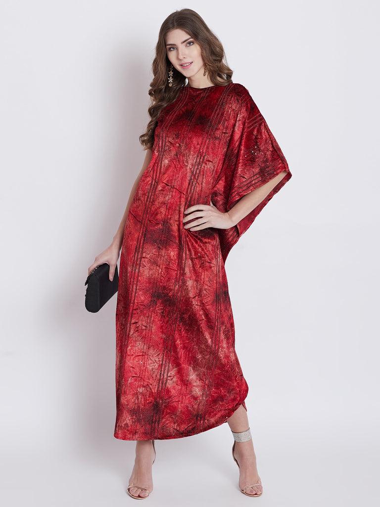 Women Maroon Printed Kaftan Dress