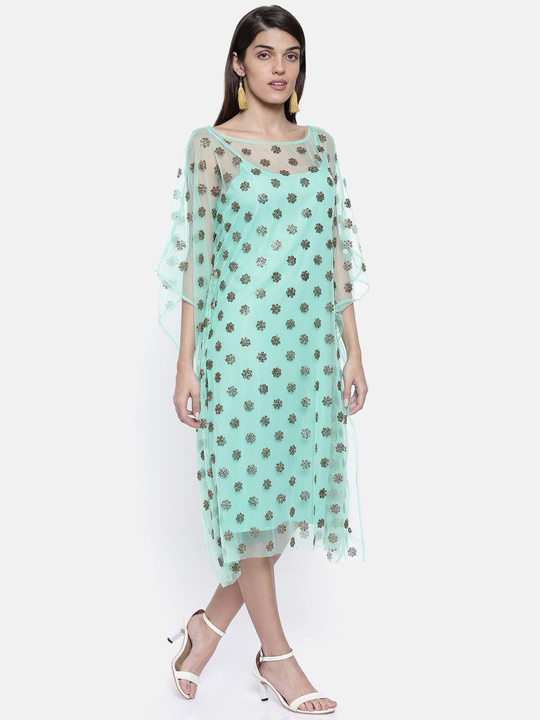 Mint Green Embellished Kaftan with Slip