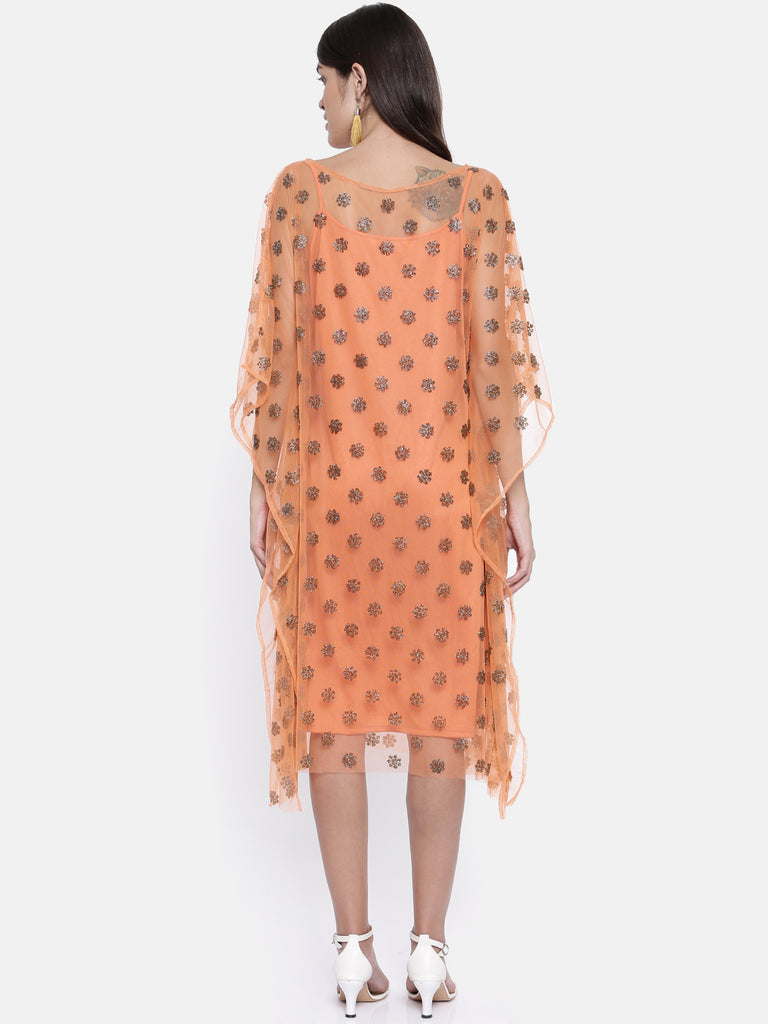 Orange Embellished Kaftan with Slip