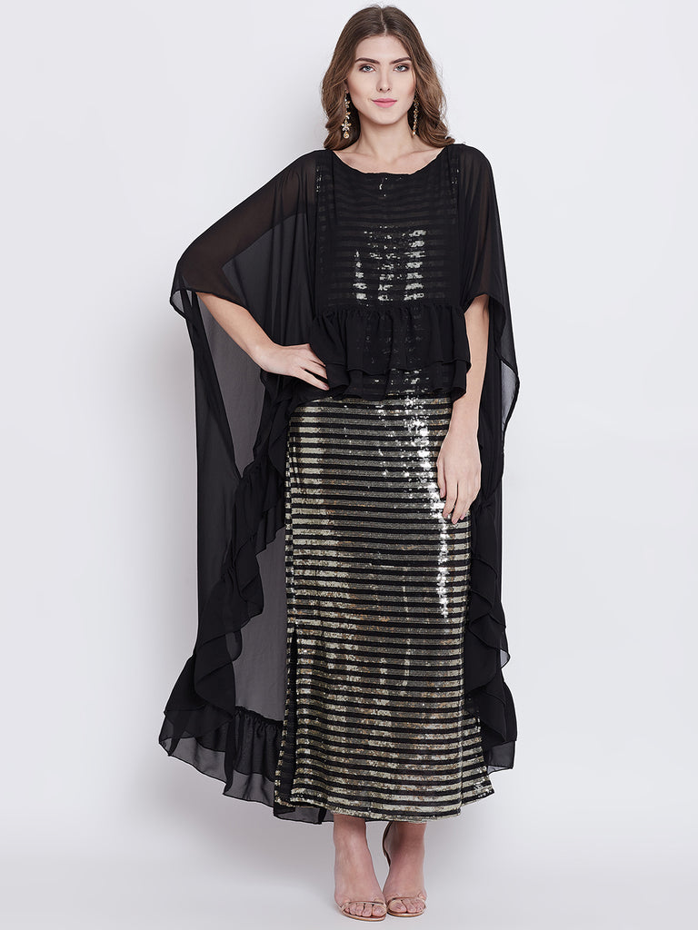 Shimmer Golden Sequins Maxi Cape Dress