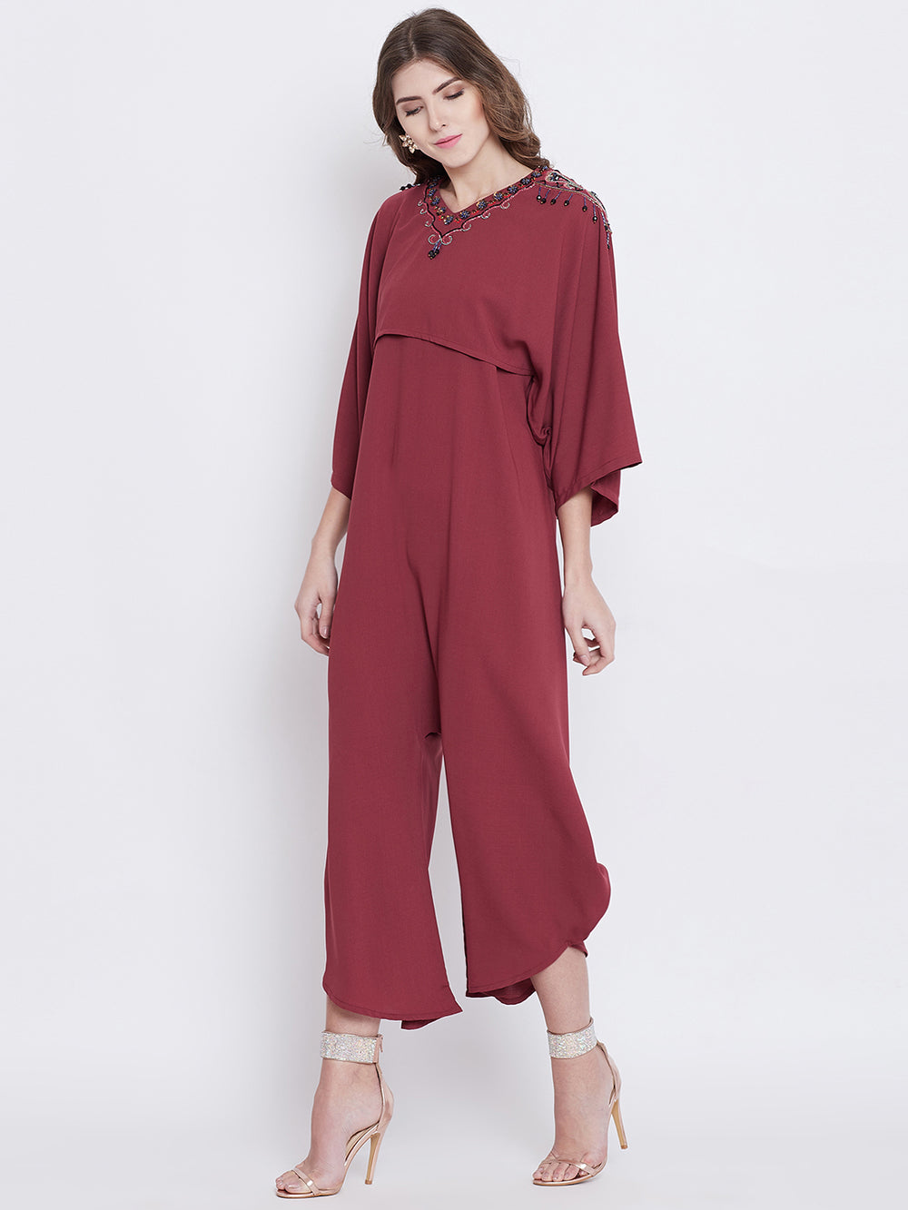 Playful Cupid Jumpsuit with Embellished Cape