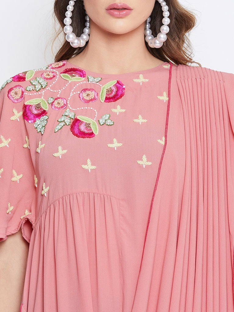 Pink Blush Embellished Draped Kaftan