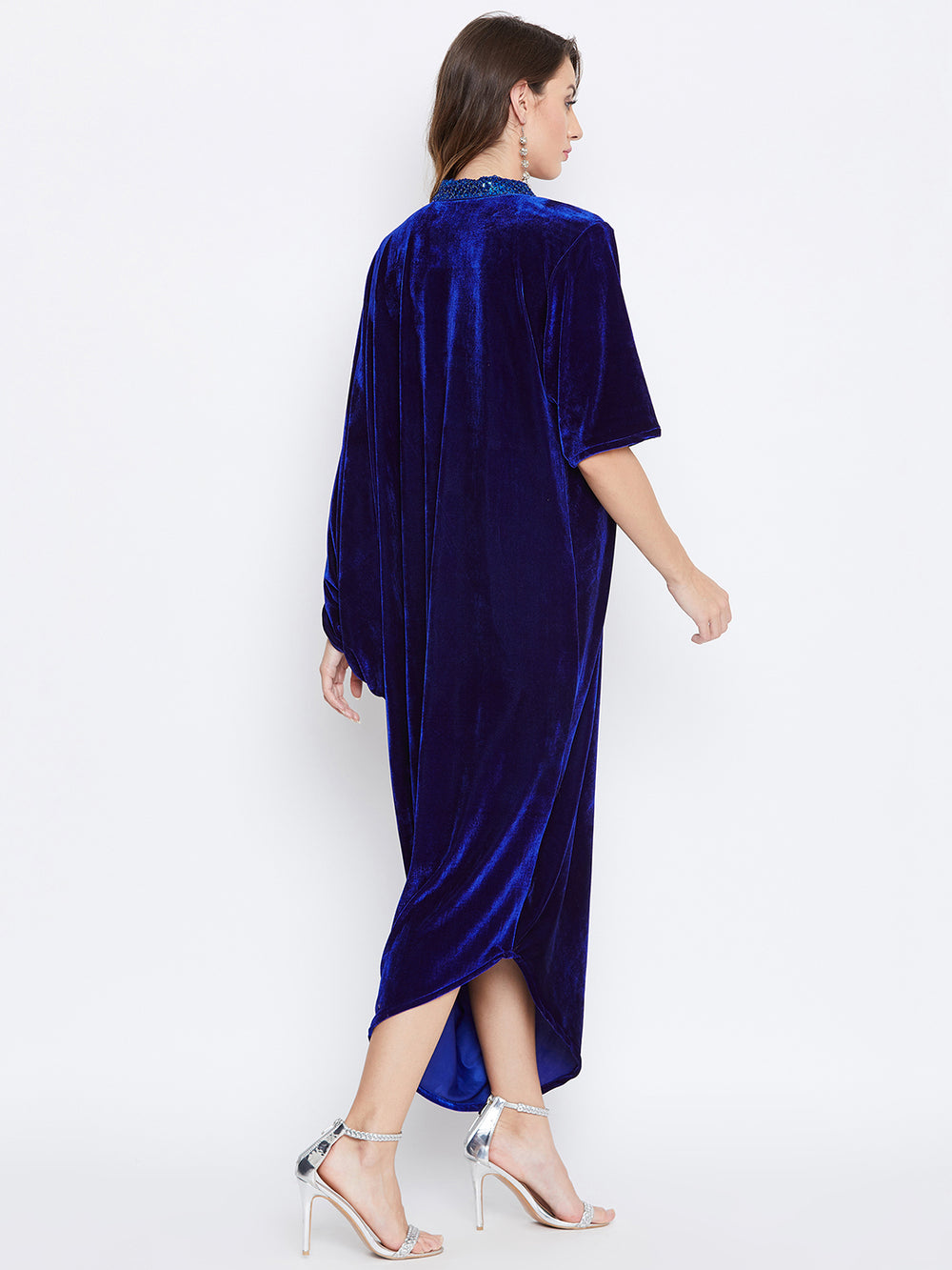 Sequinned Neck Blue Draped Kaftan