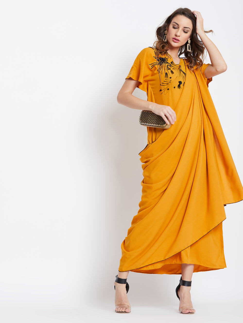 Magic Mustard Embellished Draped Kaftan