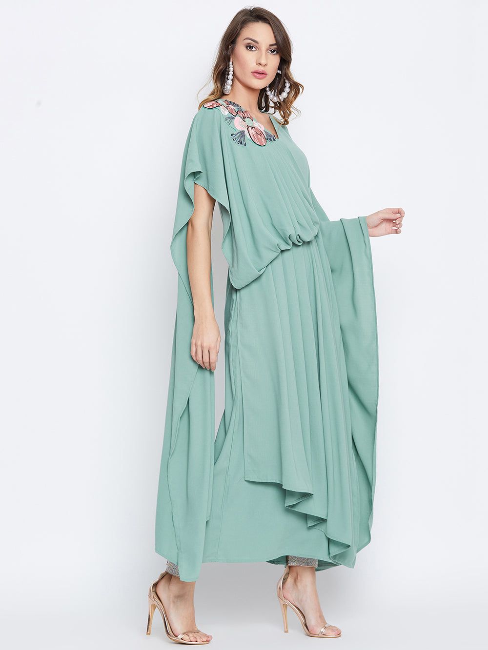 Sea Green Embellished Draped Kaftan