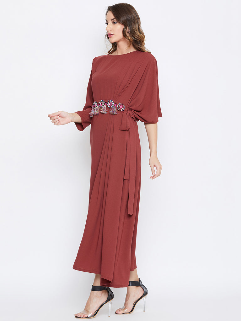 Rust Draped Kaftan with Embellished Belt