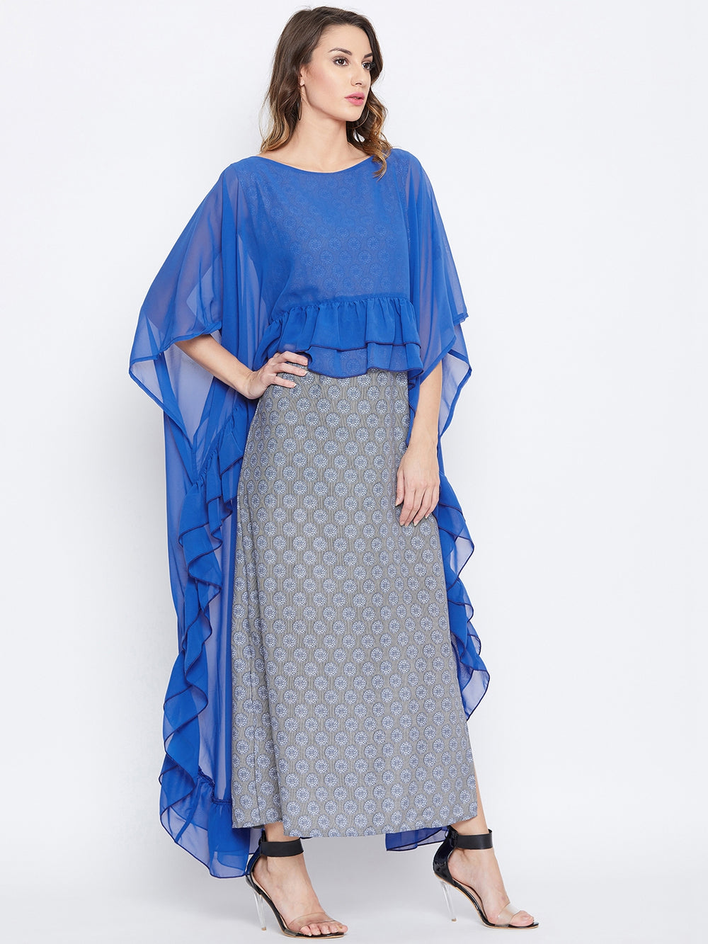 Floral Maxi Dress with Georgette Cape