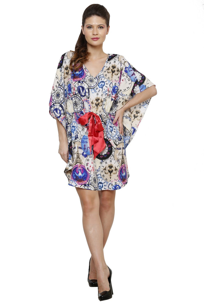 MULTI COLORED PRINTED KAFTAN DRESS WITH BELT