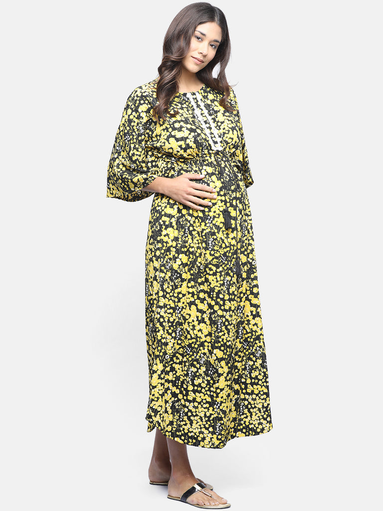 FLORAL MATERNITY WEAR CUM NURSING DRESS
