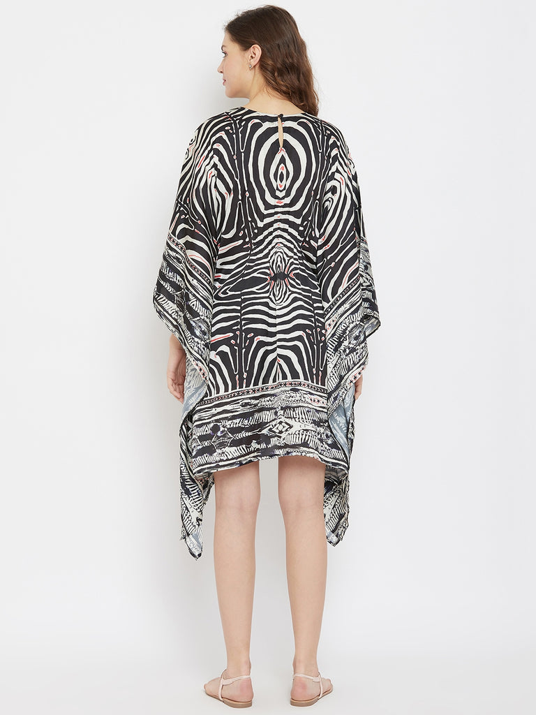 Animal Printed Knee Length Satin Maternity Kaftan Dress