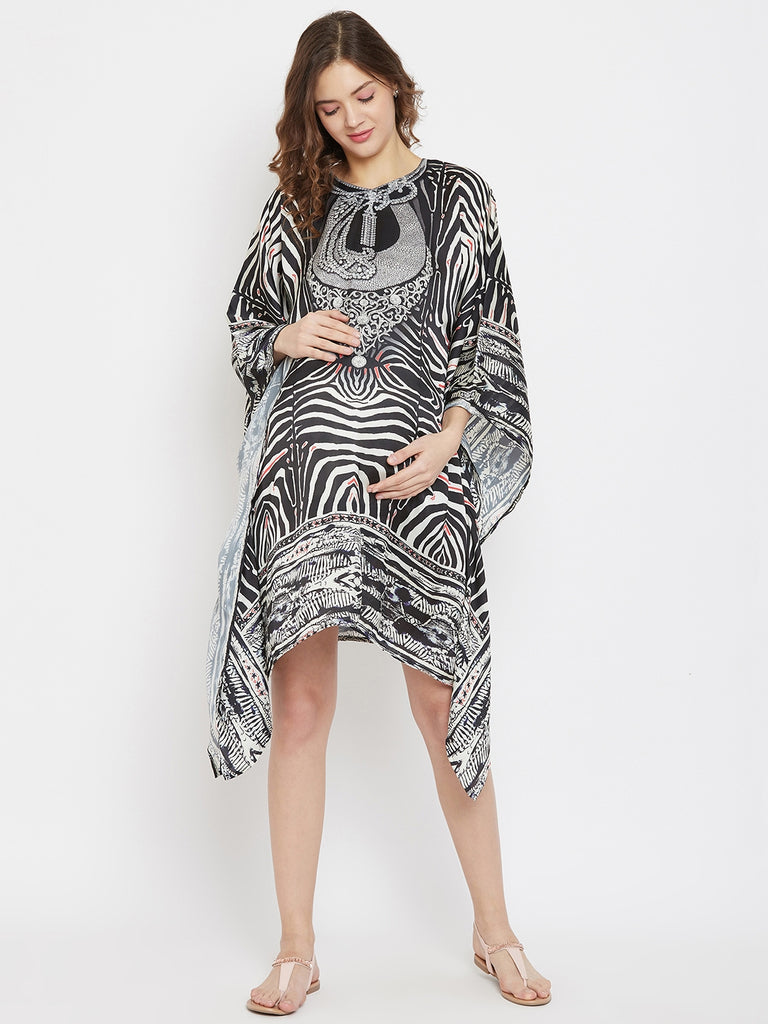 Jewelled Serengetti Knee Length Crepe Maternity Kaftan Dress