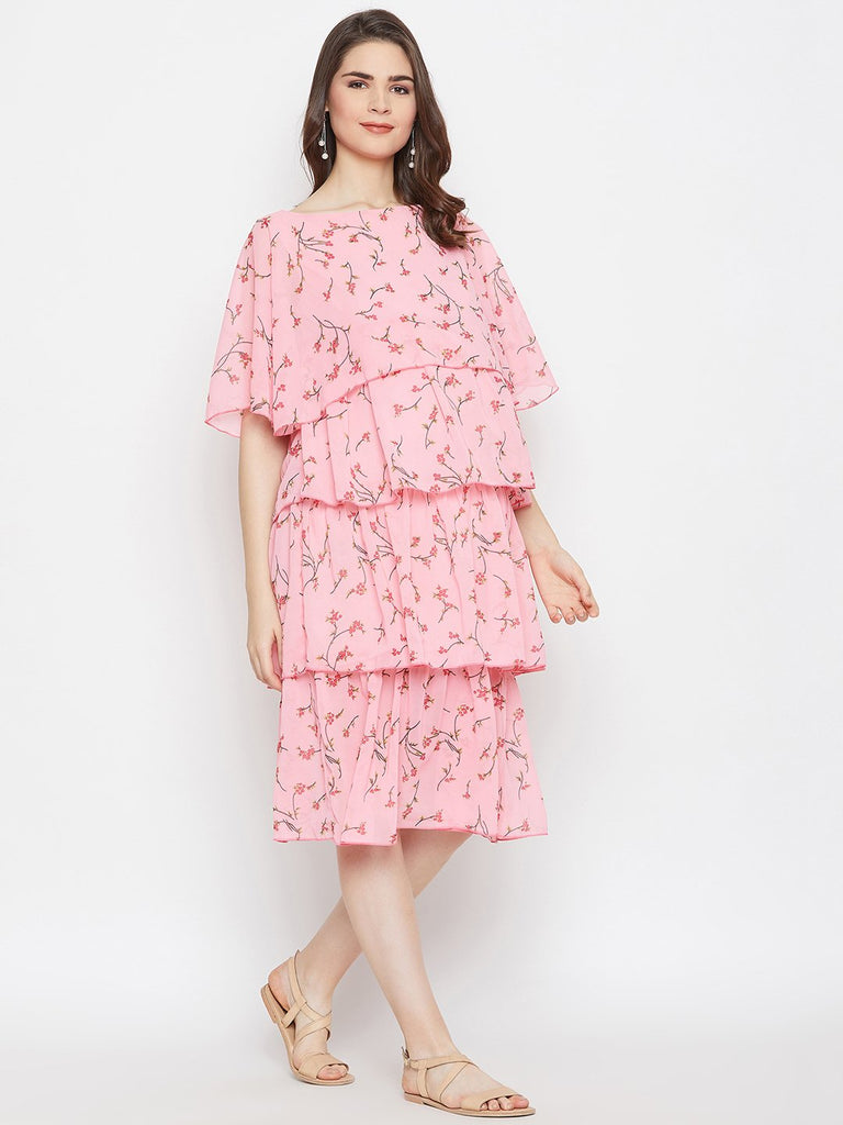 PINK FLORA LAYERED MATERNITY KAFTAN DRESS