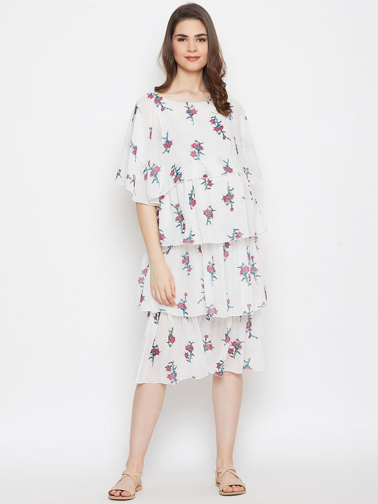 WHITE FLORA LAYERED MATERNITY KAFTAN DRESS