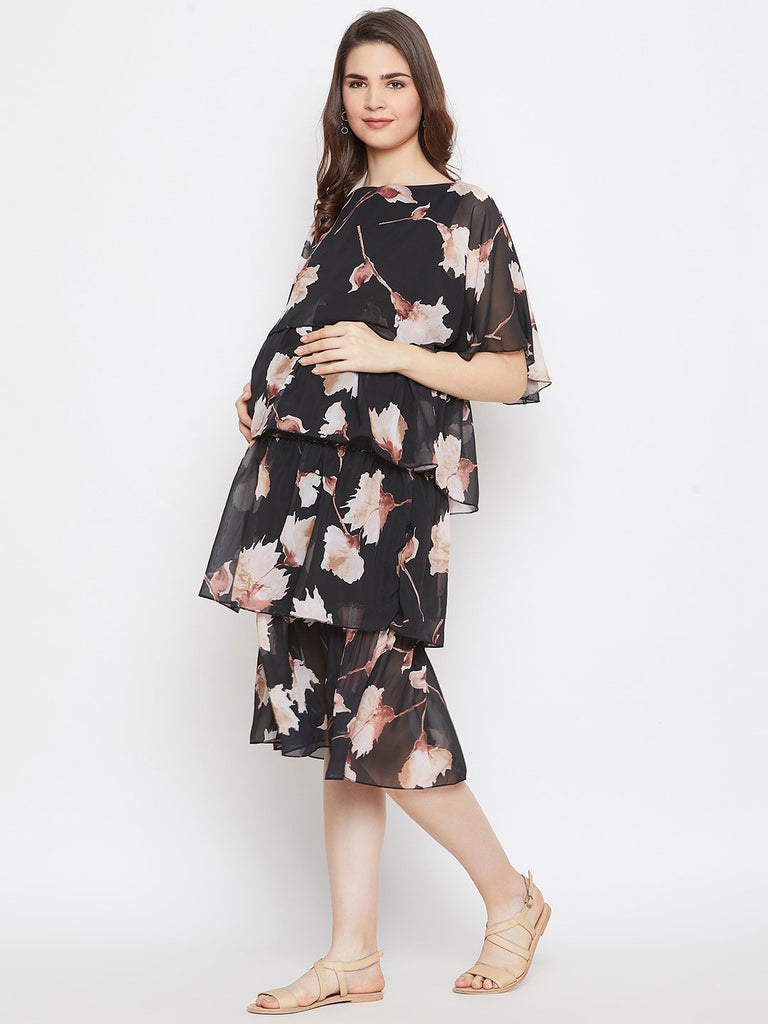 BLACK FLORA LAYERED MATERNITY KAFTAN DRESS